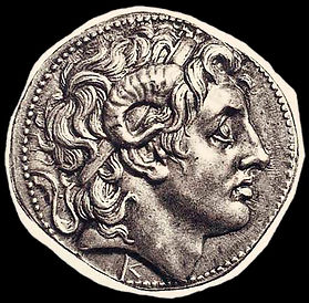 Silver coin from Thrace with the head of Alexander, portrayed wearing the horns of Zeus Amon, a god with both Eastern and Western ties.