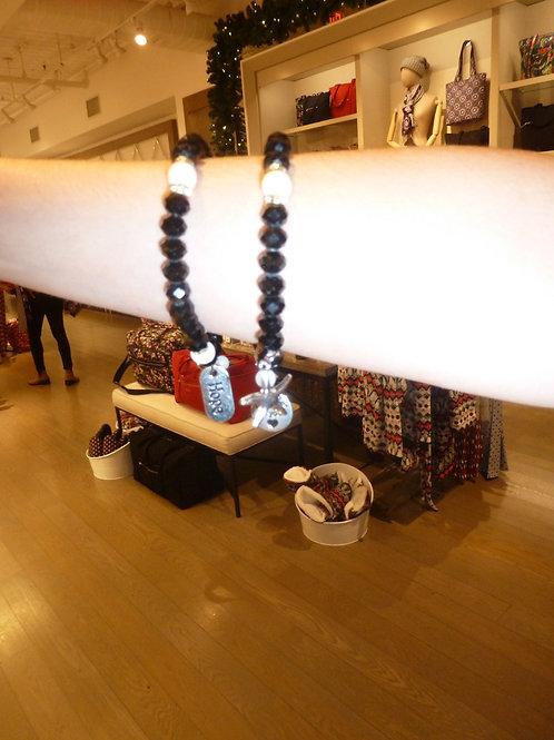 Black Crystal Charm Bracelet