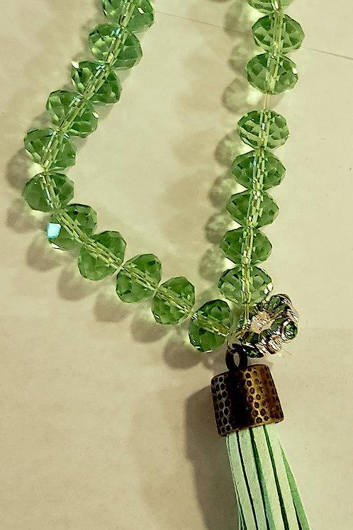 Crystal bracelet with Leather tassel