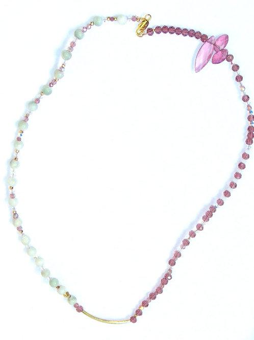 Marble & Crystal Asymmetrical Necklace