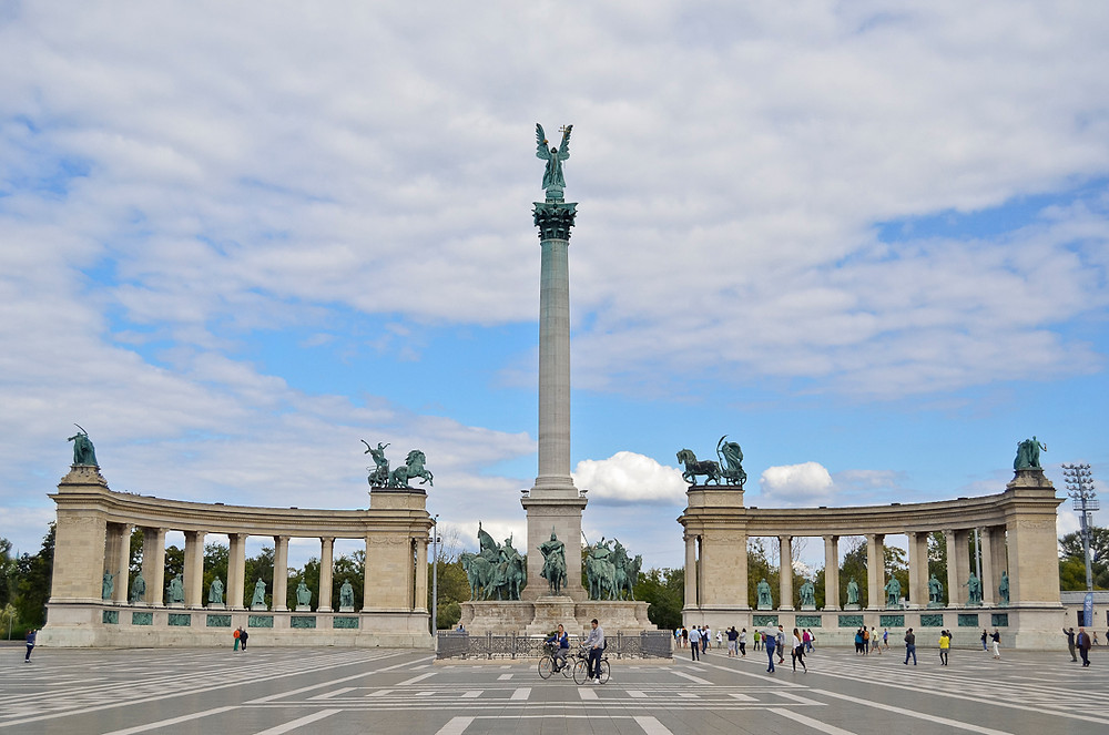 Hősök tere (Heroes' Square) is one of the major squares in Budapest, Hungary, noted for its iconic statue complex featuring the Seven chieftains of the Magyars and other important Hungarian national leaders, as well as the Memorial Stone of Heroes, often erroneously referred as the Tomb of the Unknown Soldier.