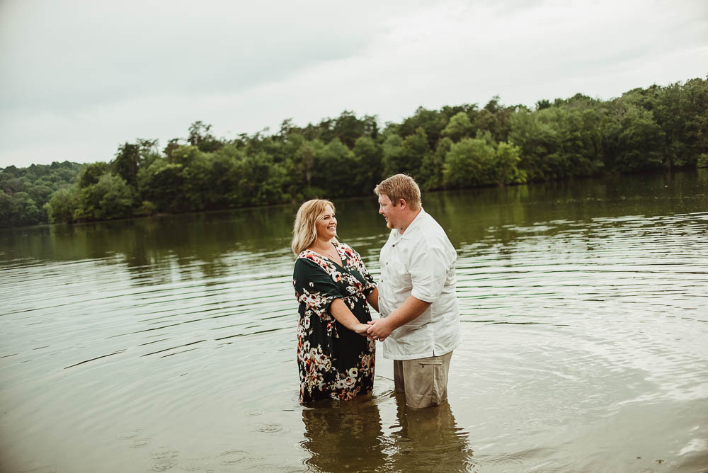 husband and wife in water