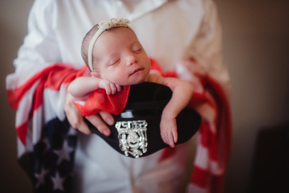 Newborn girl NYPD hat