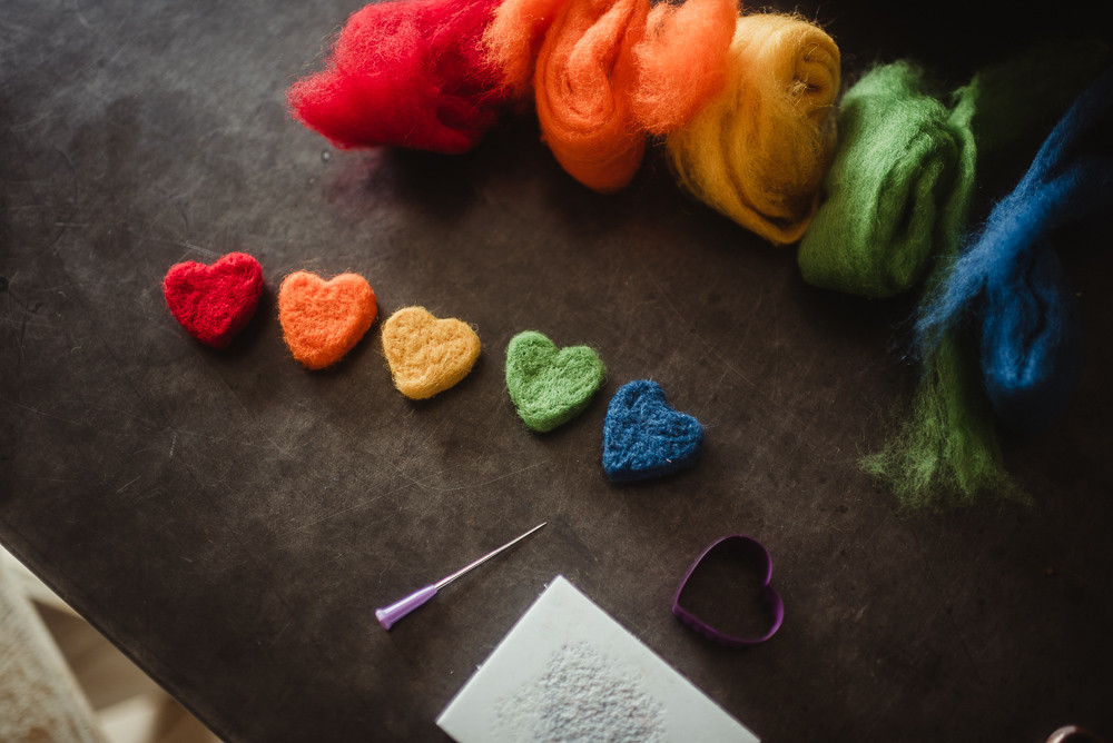 rainbow wool hearts