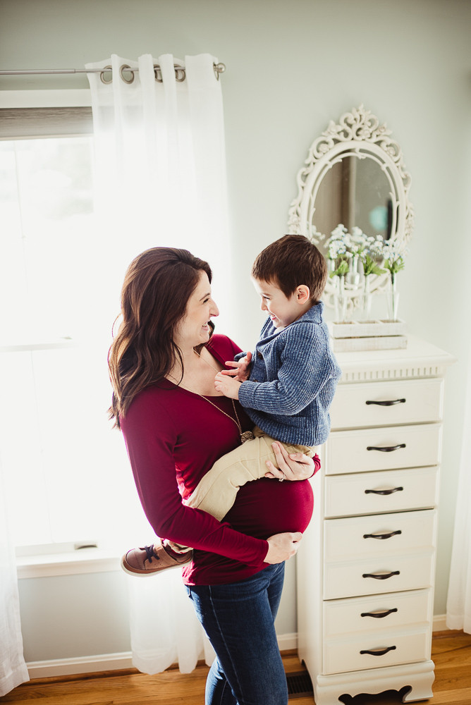 mom and son at home maternity