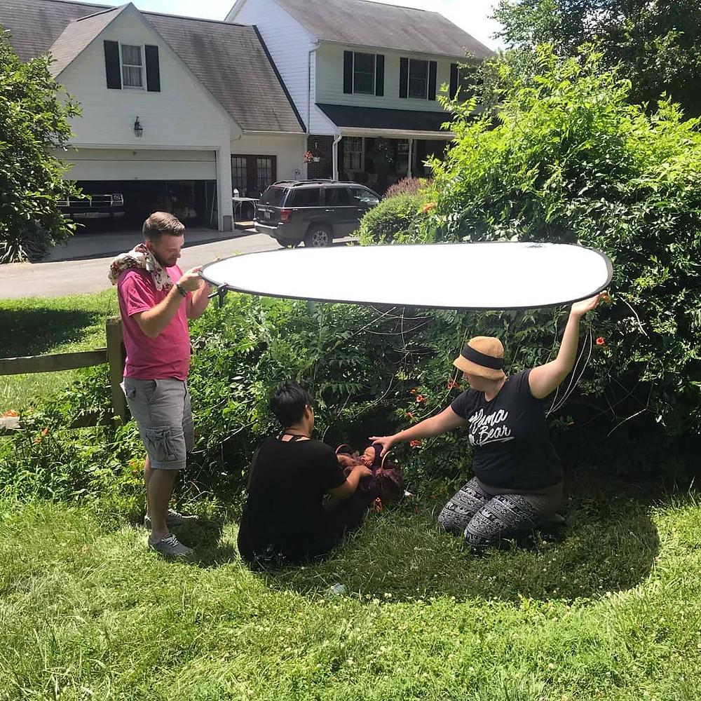 behind the scenes outdoor newborn shoot