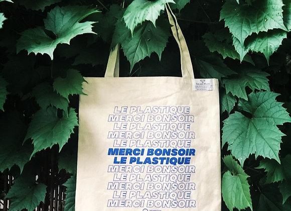 """Sac réutilisable """"Merci bonsoir le plastique"""""""