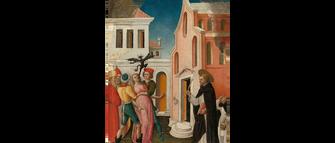 Saint Peter Martyr Exorcizing a Woman Possessed by a Devil, Vivarini, 1450