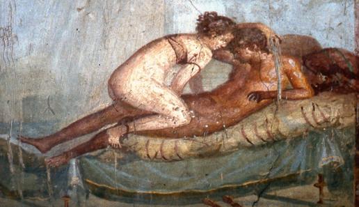 erotic-fresco-house-of-centenary, Pompeii, Italy, C70 AD