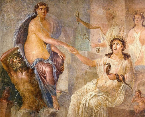 Fresco from the Temple of Isis, Pompeii, Italy c70 AD
