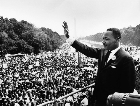 """Martin Luther King Jr. addresses a crowd from the steps of the Lincoln Memorial where he delivered his famous, """"I Have a Dream,"""" speech during the Aug. 28, 1963"""