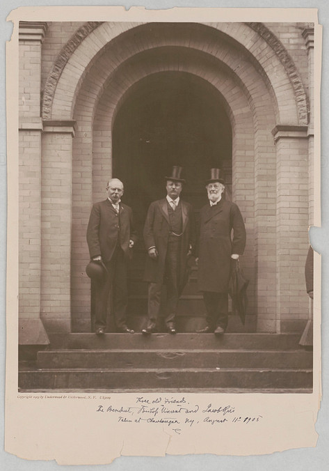 Three old friends. The President TR, Bishop Vincent and Jacob Riis taken at Chautauqua NY, August 11th 1905