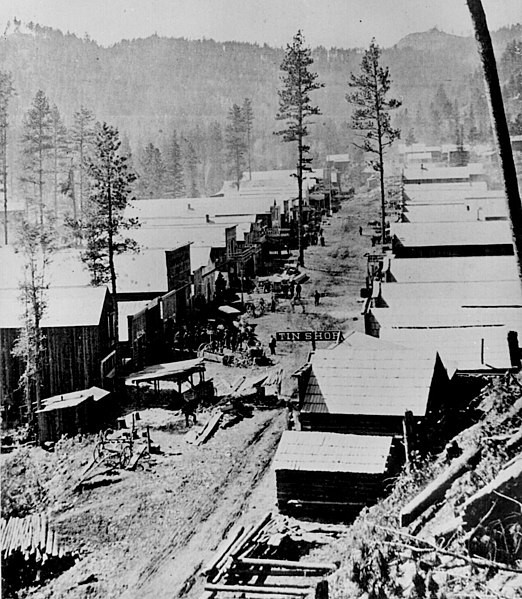 Deadwood in 1876. General view of the Dakota Territory gold rush town from a hillside above. By S. J. Morrow