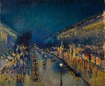 Boulevard montmartre at night, Camille Pissarro