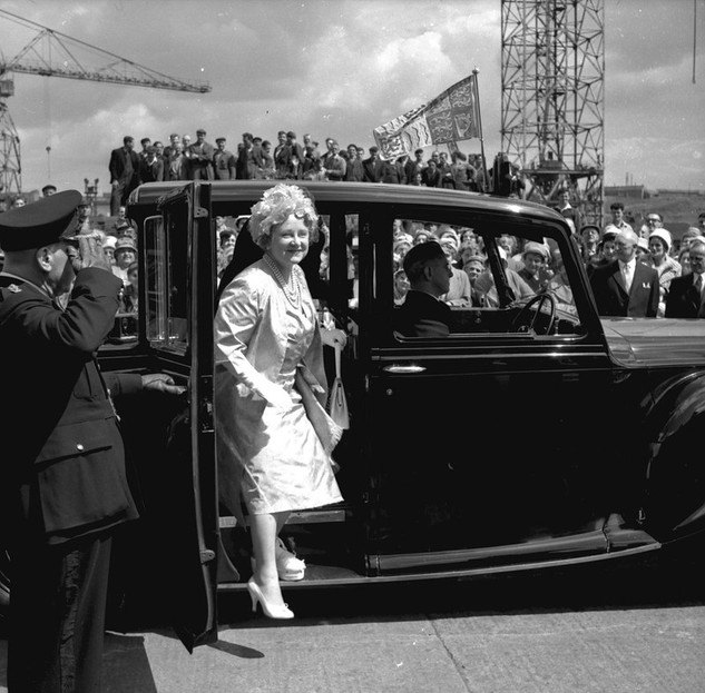 Queen Mother arriving at the Walker Naval Yard, Newcastle upon Tyne for the launch of the passenger ship 'Northern Star', 27 June 1961
