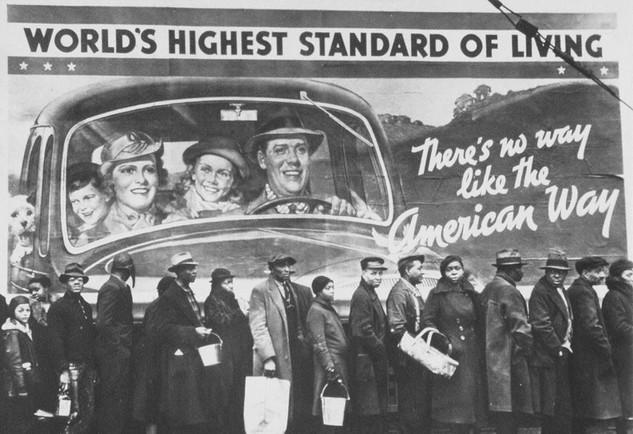 Depression era billboard and bread line