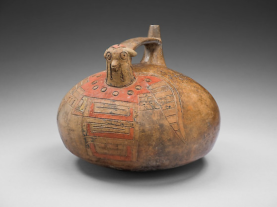 Strap-Handled Vessel in the Form of a Bird with Abstract Pattern on Body, Peru, c150-650 BC