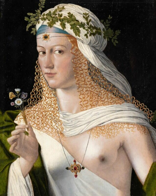 Idealised Portrait of a Courtesan as Flora by Bartolomeo Veneto, ca. 1520