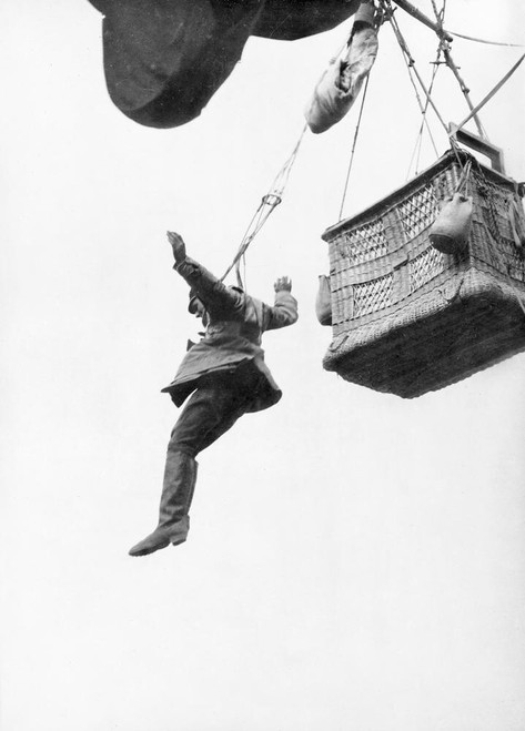A German soldier jumping from his observation balloon, WWI c1916