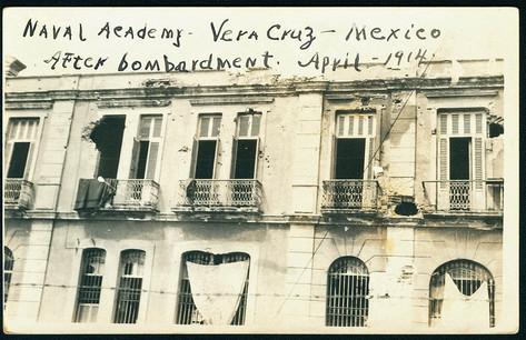 Naval Academy, Vera Cruz, Mexico after bombardment. April 1914