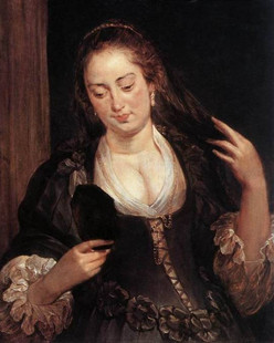 Pierre-Paul Rubens, Woman with a mirror (c. 1640)