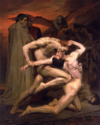 Dante and Virgil in Hell by William-Adolphe Bouguereau, 1850