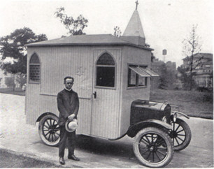 Church built on top of a car, 1923