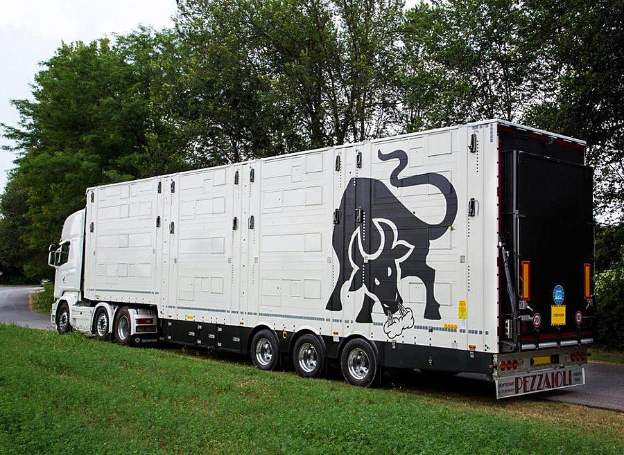 Un veicolo Pezzaioli per il trasporto di animali vivi