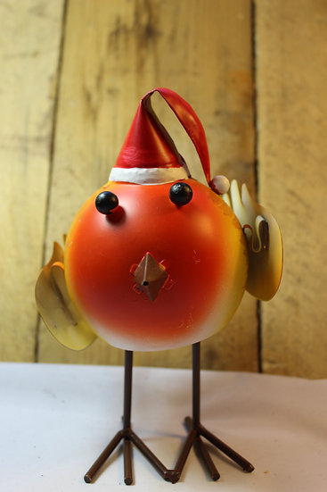 Bouncing Metal Robin with Christmas Hat.