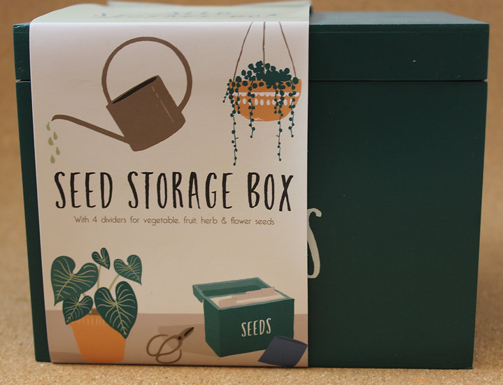 Wooden Seed Storage Box with Dividers