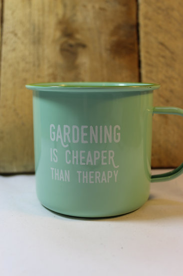 Enamel Mug- Gardening is Cheaper Than Therapy Green
