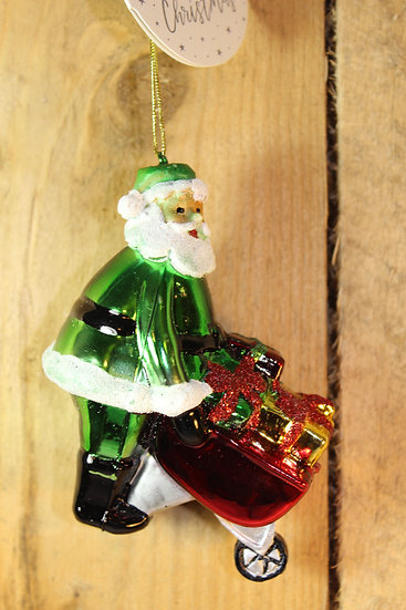 Glass Father Christmas Decoration