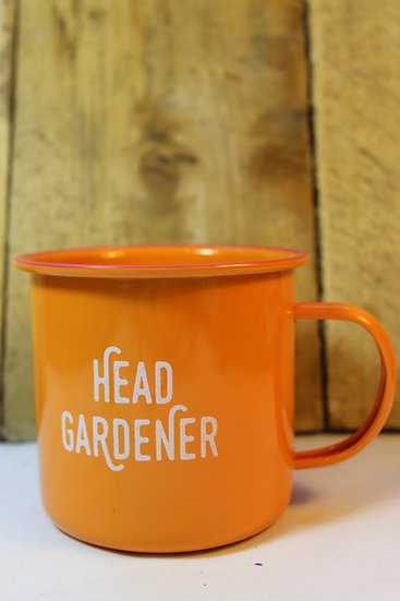 Enamel Mug- Head Gardener Orange