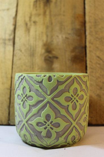 Concrete Planter, Patterned Green