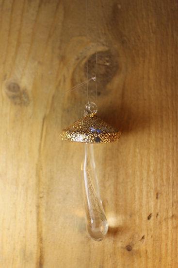 Delicate Glass Mushroom- Gold