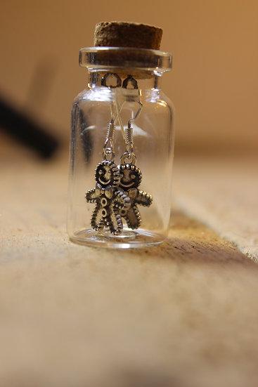 Earrings in a Bottle- Gingerbread Man