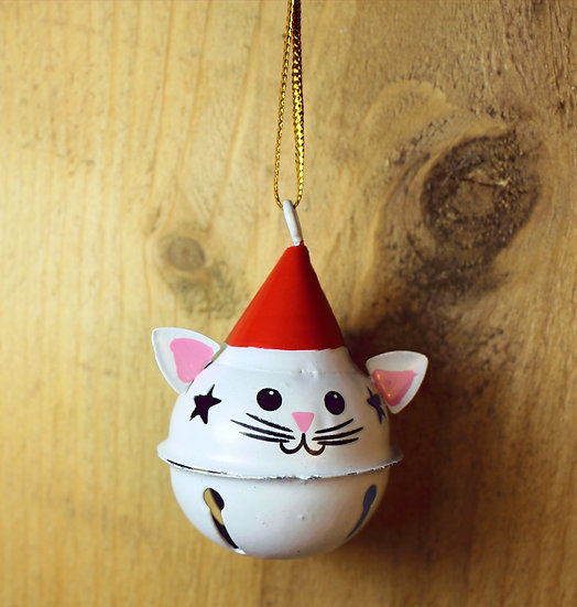 Jingle Bell Hanging Cat Christmas Decoration- White