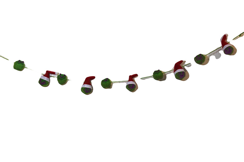 Felted Brussel Sprout Christmas Garland