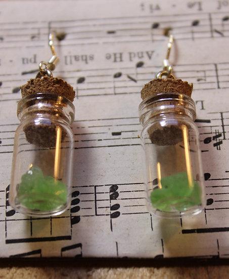 Small Sea Glass Bottle Earrings