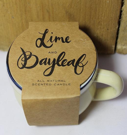 Lime and Bayleaf Candle in Ceramic Mug