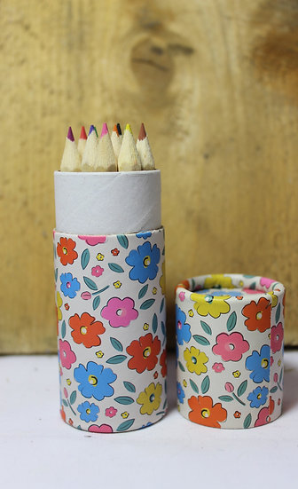 Floral Coloured Pencil Tube