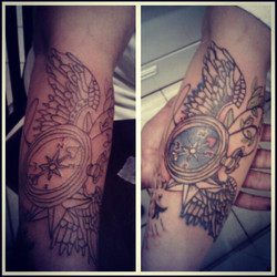 #Exquisite #All day #ink _olivia addition to #sleeve round 2 #compass #wings #TimeFlys #FWM who's ne