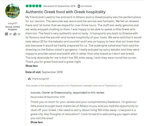 authentic Greek food with great hospitality
