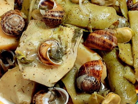 Artichokes, Fresh Broad Beans & Snails recipe - (Αγκιναροκούκια Με Χοχλιούς)