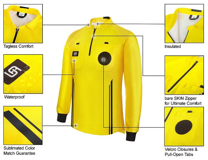 New Style Hybrid Cold & Wet Weather Soccer Referee Jersey