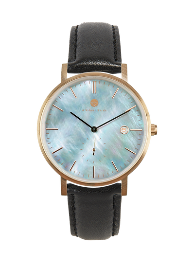 PEARL GEM ROSE GOLD 38MM | LEATHER | ONYX