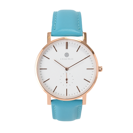 MANGOE 40MM | LEATHER | TURQUOISE BLUE