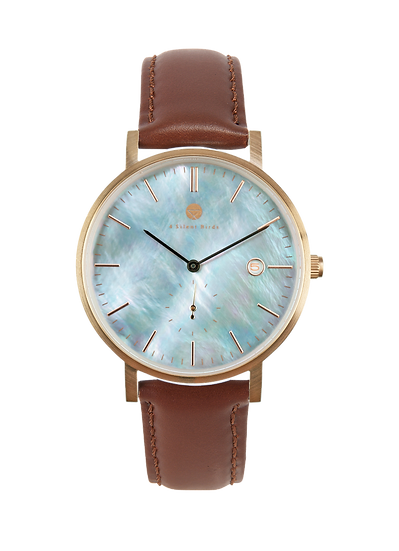 PEARL GEM ROSE GOLD 38MM | LEATHER | BURNT UMBER