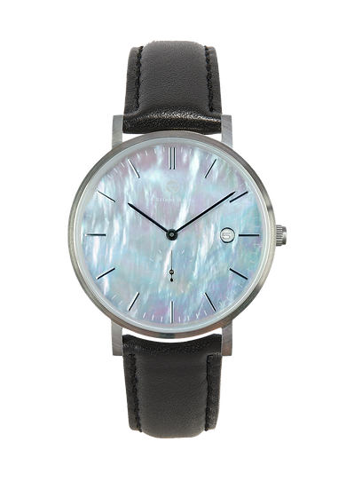 PEARL GEM SILVER 38MM | LEATHER | ONYX