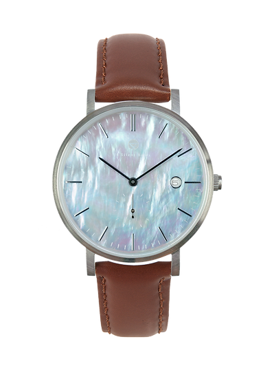 PEARL GEM SILVER 38MM | LEATHER | BURNT UMBER